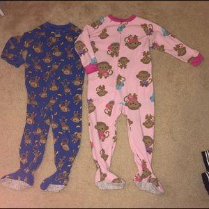 🐵 Boy + Girl Twin Monkey Fleece PJs 3T B/G Twins